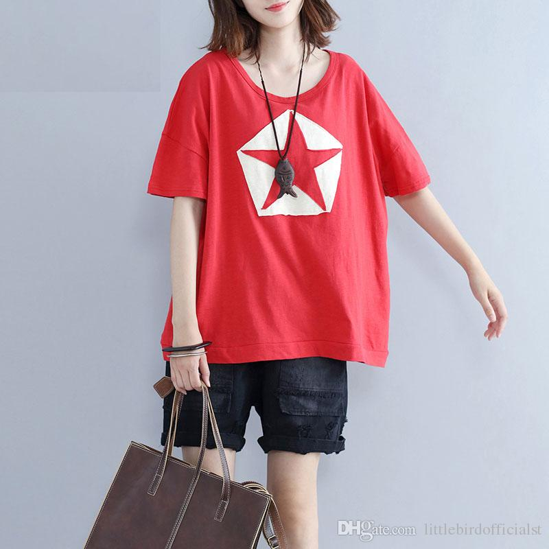 Summer T-Shirt Plus Size Women The Stars Print T-Shirt Female Casual Cotton Loose Korea New Lady Red Style Short Tops