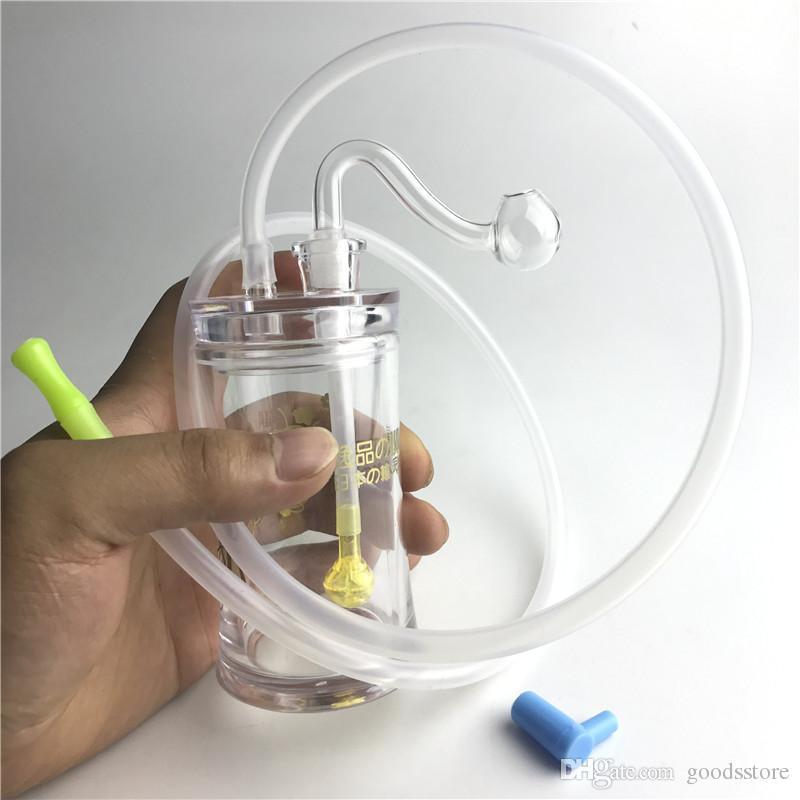 Nuove tubature dell'acqua di Bong del bruciatore a olio di plastica da 4,5 pollici con tubo di silicone del tubo del bruciatore a olio di spessore del maschio 10mm di spessore per fumare