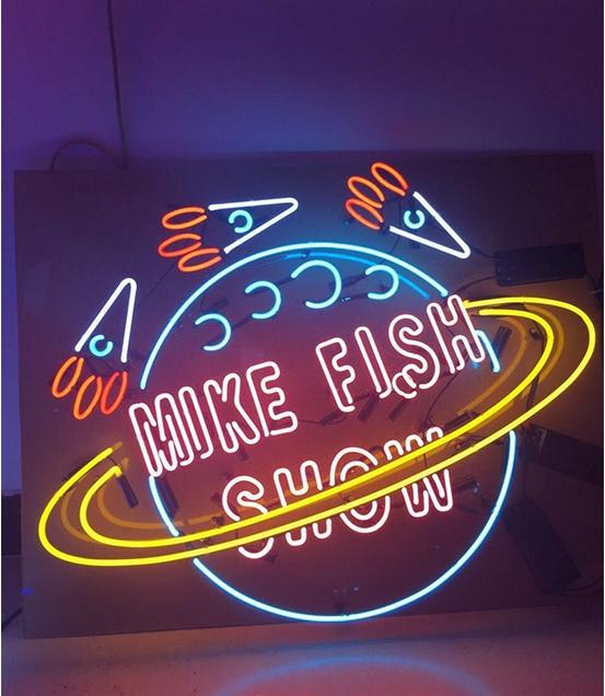 Fashion Handcraft MIKE FISH SHOW Logo Real Glass Beer Bar Pub Display neon sign 24x24!!!Best Offer!