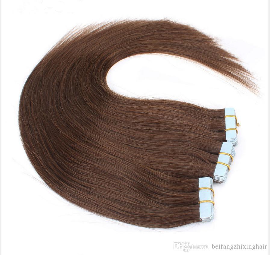 Top-Qualität 7A indische remy Menschenhaar glattes Haar PU-Band Haarverlängerungen 14 '' - 26 '' 4 # drak braun 100 / pack 40pcs Dhl frei