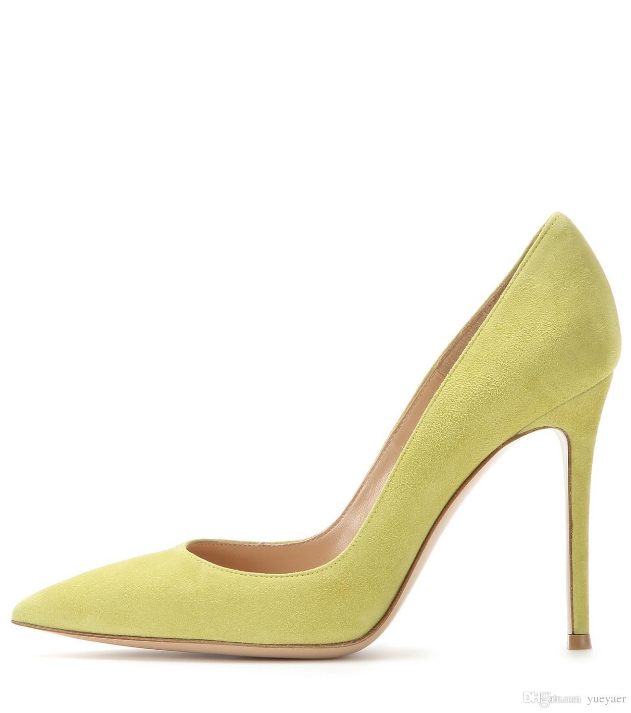 Zandina Ladies Handmade Fashion Elegant 100mm Pointy Basic Office Party Prom High Heel Pumps Shoes Lemon