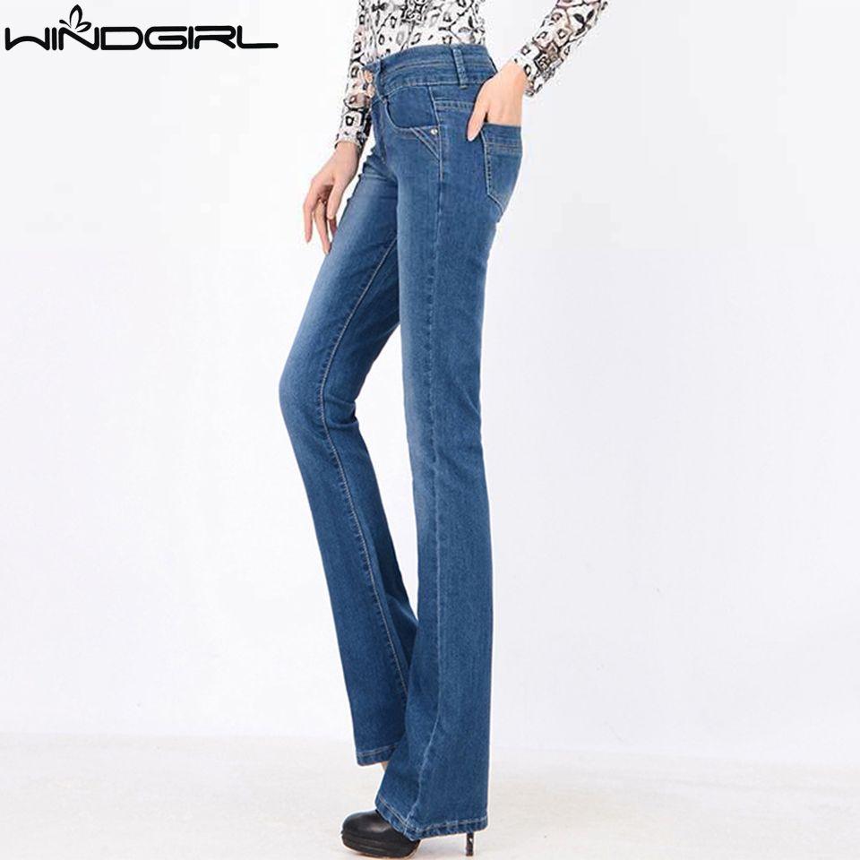 All'ingrosso WINDGIRL vita alta bootcut jeans delle donne bagliore blue jeans denim pantalone femme sottile più il cotone formato della mutanda pantalones vaqueros mujer