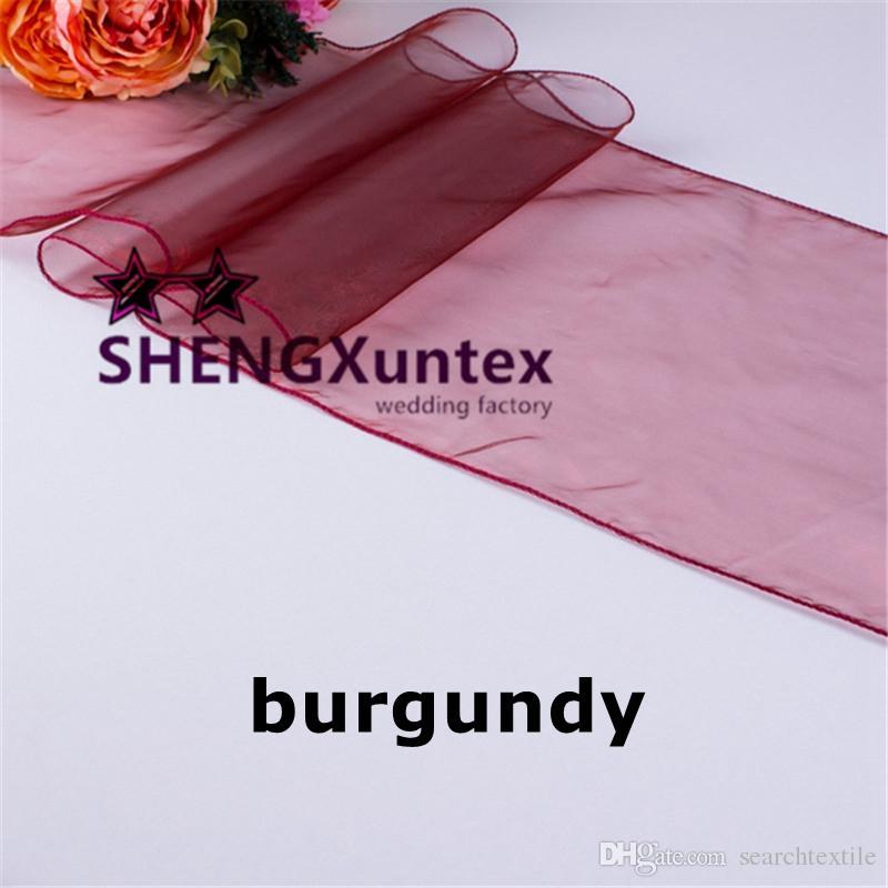 Bourgogne Couleur Organza Chemin de table pour le mariage de table en tissu Décoration