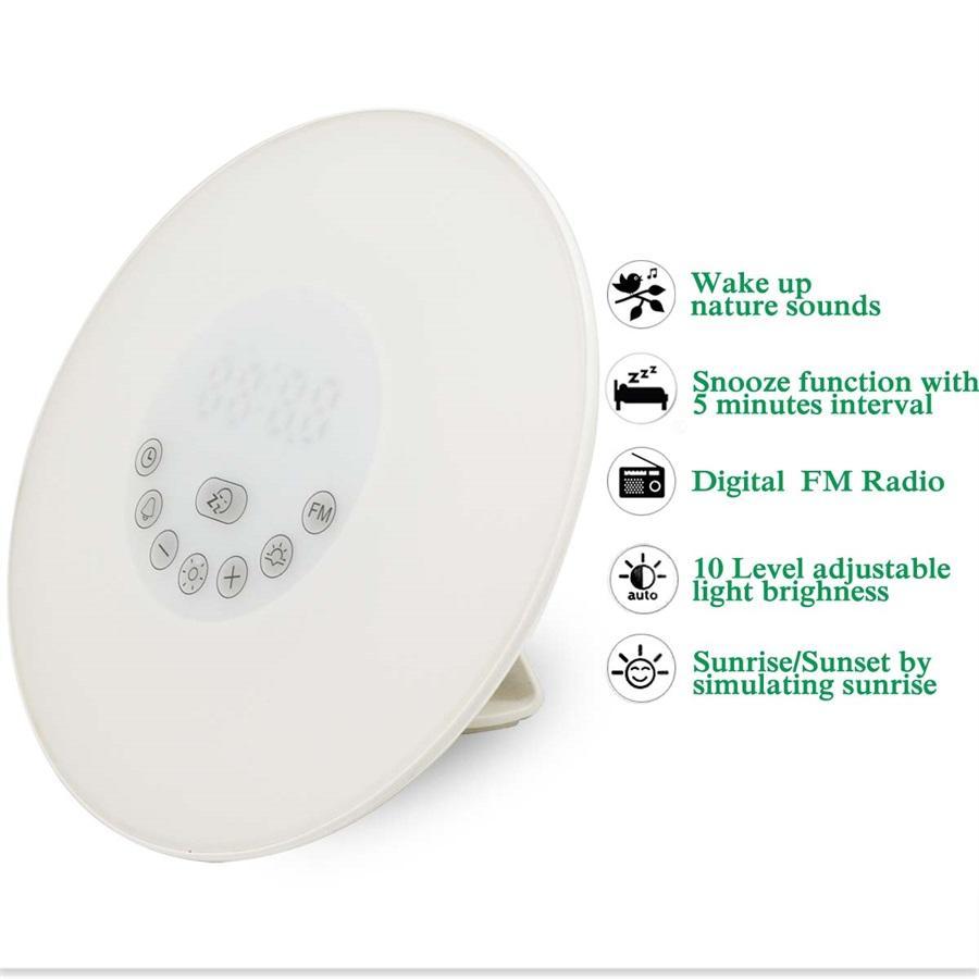 Großhandel-DC5V Digital Led Wecker Radio FM RGB Weiß Einstellbare Farbwechsel Touch Display Rund Modern Wake Up Tischlampe Licht