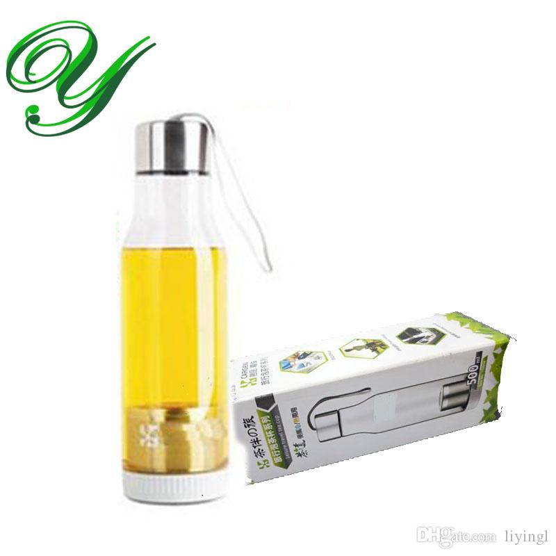 plastikowa butelka butelka gorącej wody butelka ze stali nierdzewnej herbaciany kubek 500ml z pokryciem filtra herbaty herbaty sling jadalny ABS przenośne sporty