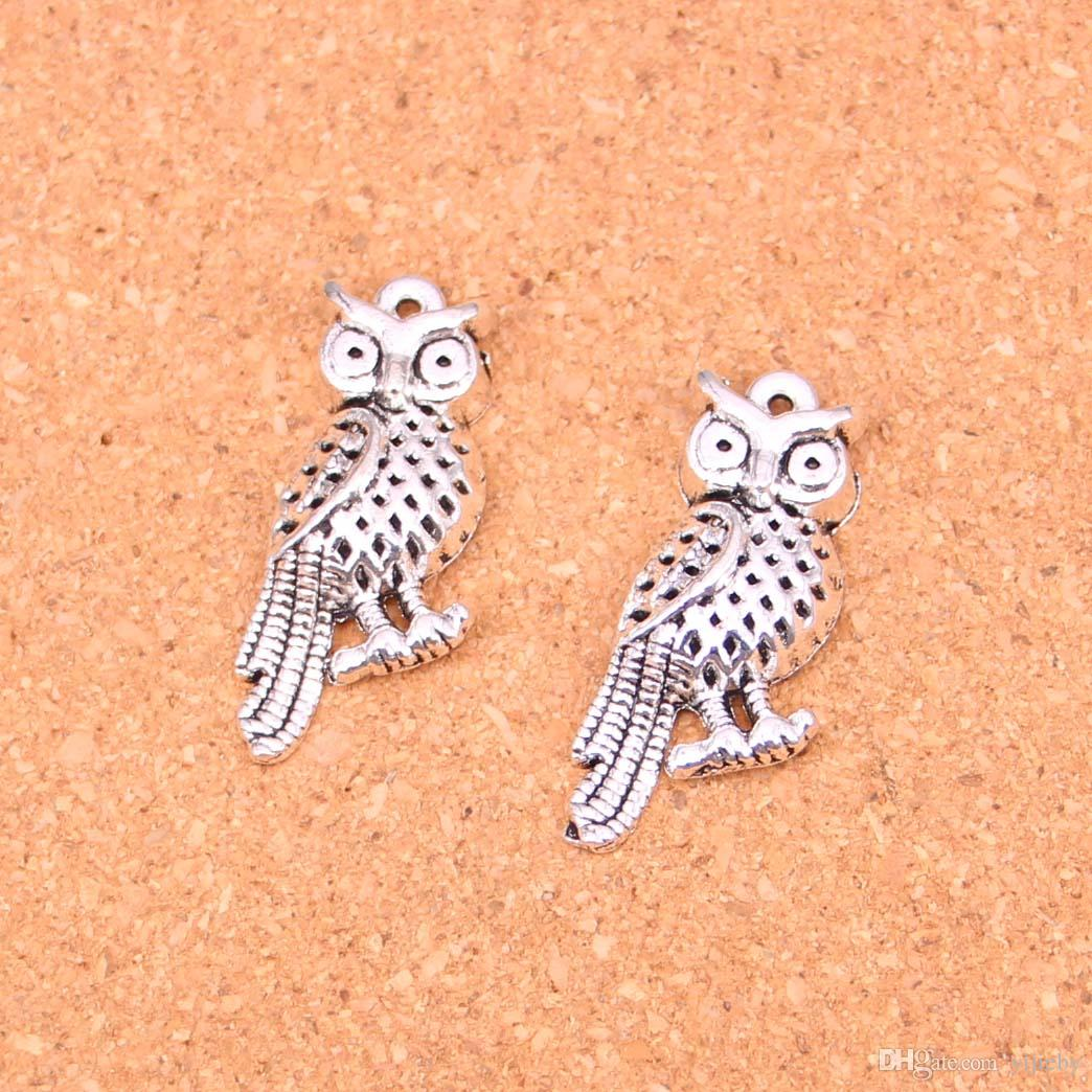 Wholesale 50pcs Fashion Antique silver owl standing branch charms metal pendants for diy jewelry findings 33*15mm