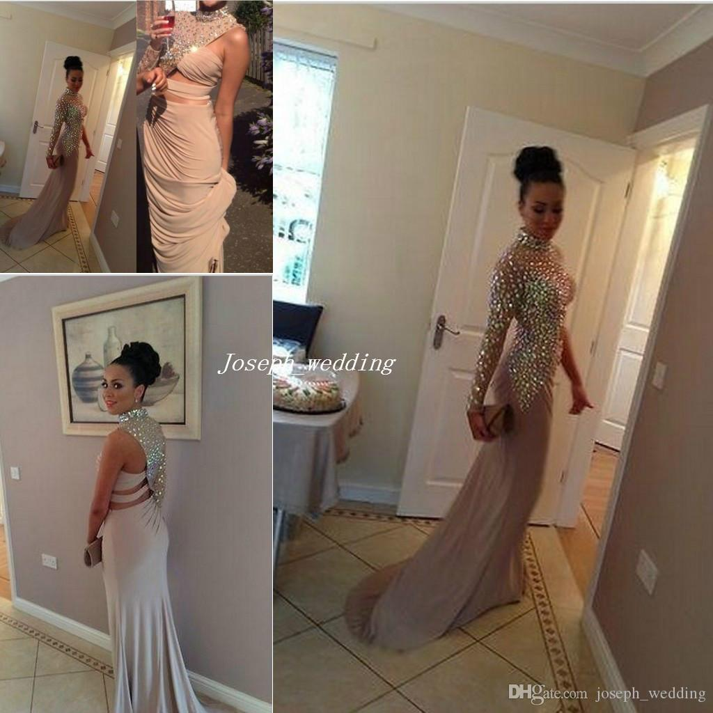 Free Shipping 2017 New Design Crystal Beaded High Neck Evening Kim Kardashian Gowns Vestidos Long Prom Celebrity Dresses Red Carpet WL358