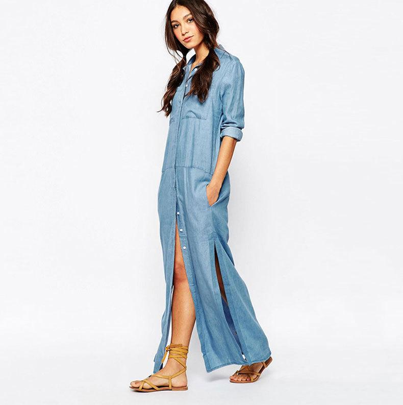 Vintage Long Denim Shirt Dress Women Lapel Side High Split ...