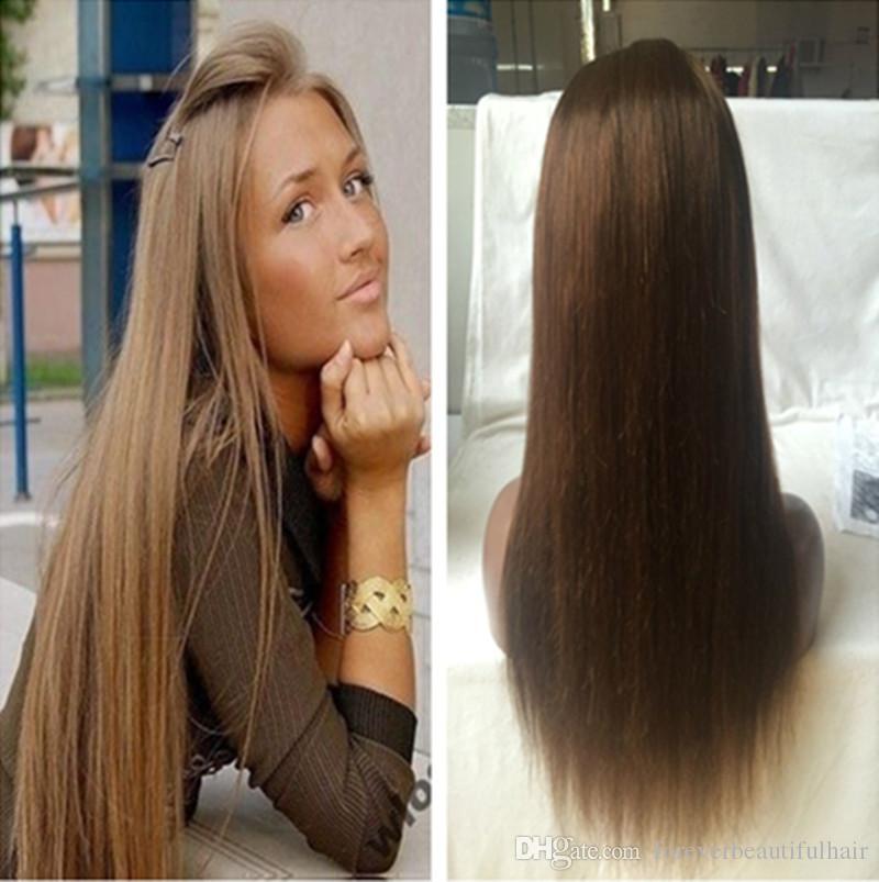 Barato Glueless Seda Pelucas de pelo recto marrón Pelucas llenas del cordón del pelo humano para las mujeres negras Pelucas delanteras del cordón del pelo peruano de la Virgen del recto