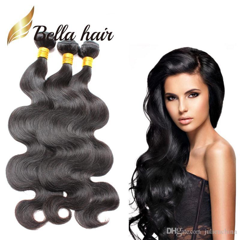 Bella hair® 3bundles 100% unverarbeitete peruanische menschliche haare schuss natürliche farbe 9a königin wellenförmige körperwelle webt