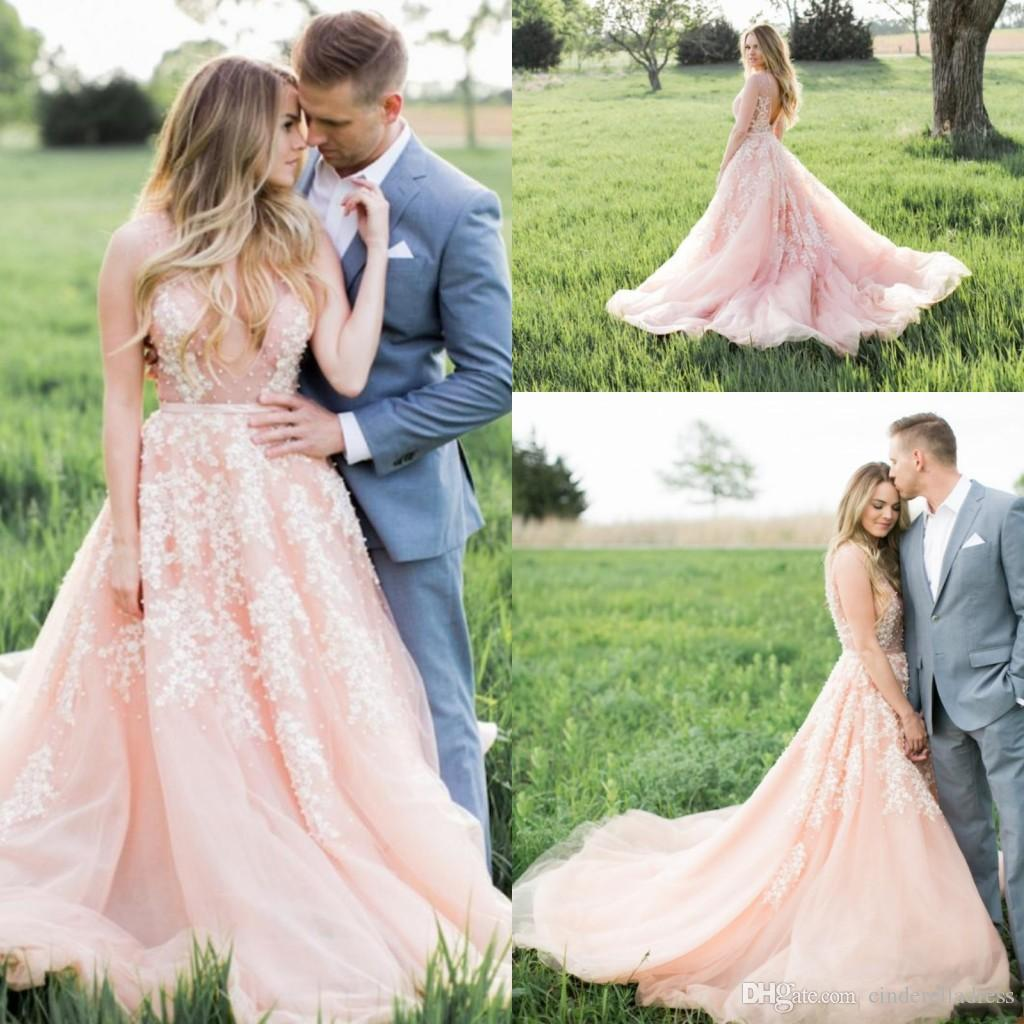 2017 modest sexy blush pink boho wedding dresses white lace 2017 modest sexy blush pink boho wedding dresses white lace appliques charming plunging v neck see through top backless sheer bridal gowns 2018 from junglespirit Gallery