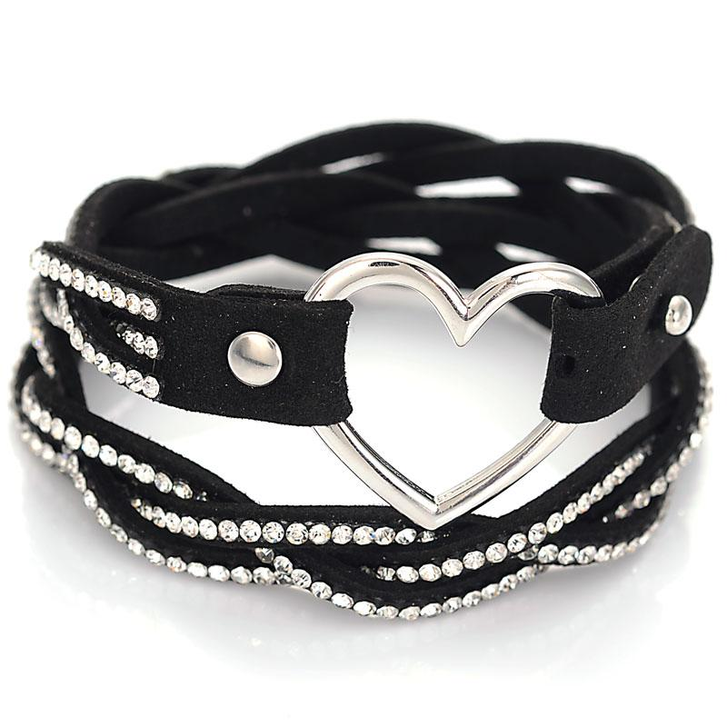 Braided Rope Double Leather Bracelet With Crystal And Heart Charm Adjustable Wrap Bracelet Fashion Jewelry for Women