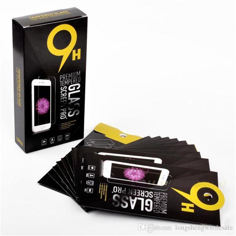 Boîtes de papier de paquet de détail vide 10pcs chaque boîte Emballage de la vitrine trempé de prime 9H Protector Sony iPhone Samsung