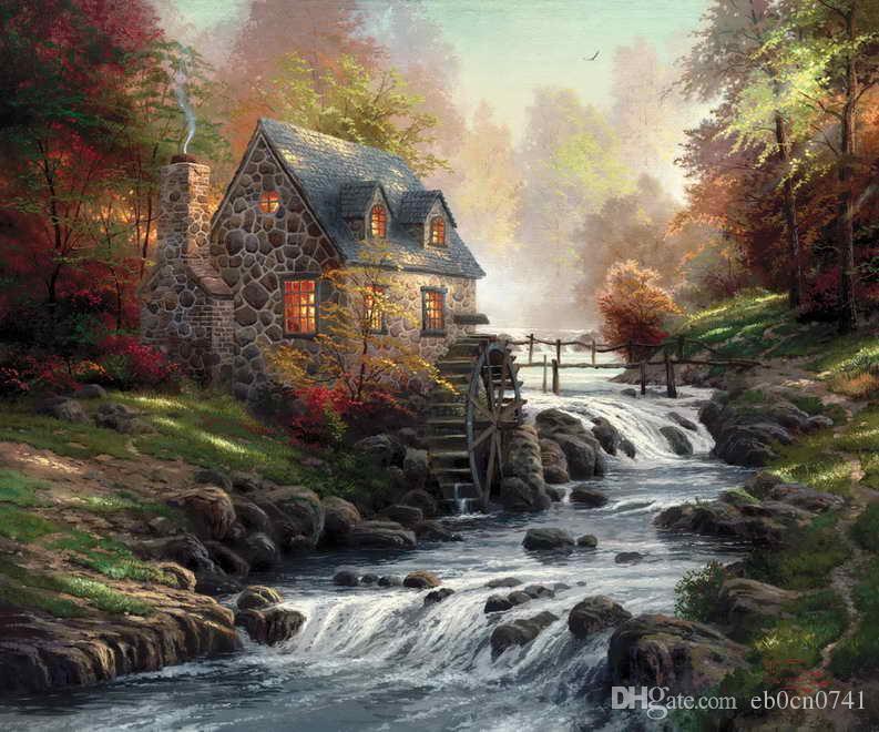 Cobblestone Mill Thomas Kinkade Pinturas al óleo Art Wall Moderno HD Imprimir en lienzo Decoración Sin marco