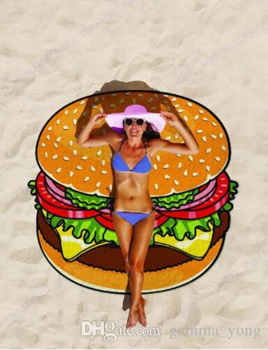 Rodada Toalha De Praia Pizza Hamburger Impresso 150 cm Grande Natação Toalha De Banho Mandala Indiana Tapestry Toalha de Praia Toalhas de Cobertor Ao Ar Livre do Piquenique