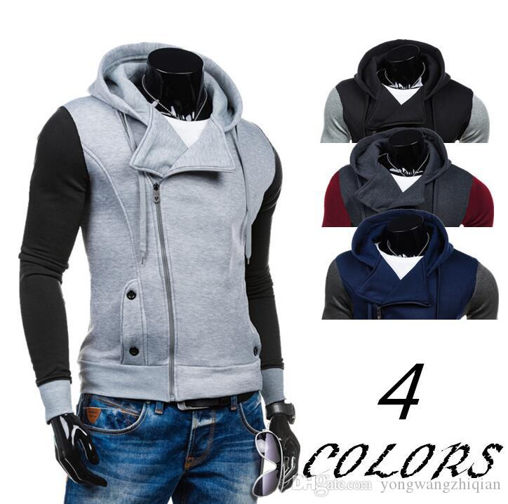 Fall 2016 han edition men's clothing foreign trade fashion sports leisure coat color matching cardigan fleece hat youth coat Cardigan flee
