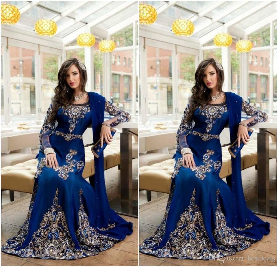 2017 로얄 블루 럭셔리 크리스탈 이슬람 아랍어 이브닝 드레스 아플리케 레이스 Abaya 두바이 Kaftan 긴 플러스 사이즈 공식 연예인 가운