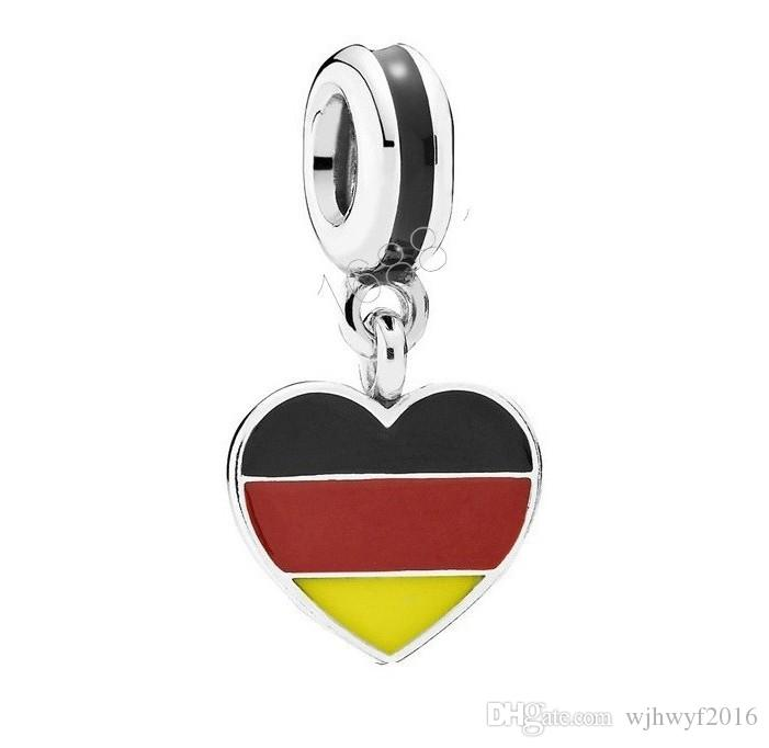 Germany hearts dangle charms multicolor enamel bead 925 sterling silver jewelry fits DIY brand bracelets Making Accessories HB549