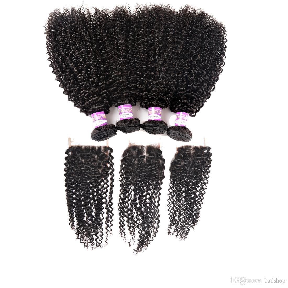 Mongol rizado rizado pelo con cierre de Mongolia Virgen del pelo con haces cordón de cierre de Mongolia profundamente rizado pelo humano 3 con el encierro