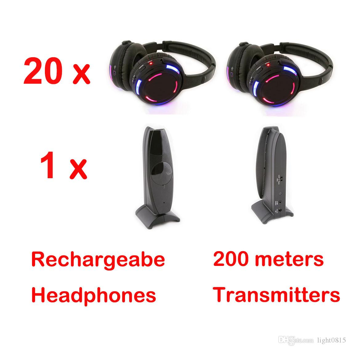 Casque sans fil RF avec 1 canal et lumière LED pour casque silencieux Disco 16 et 1 émetteur