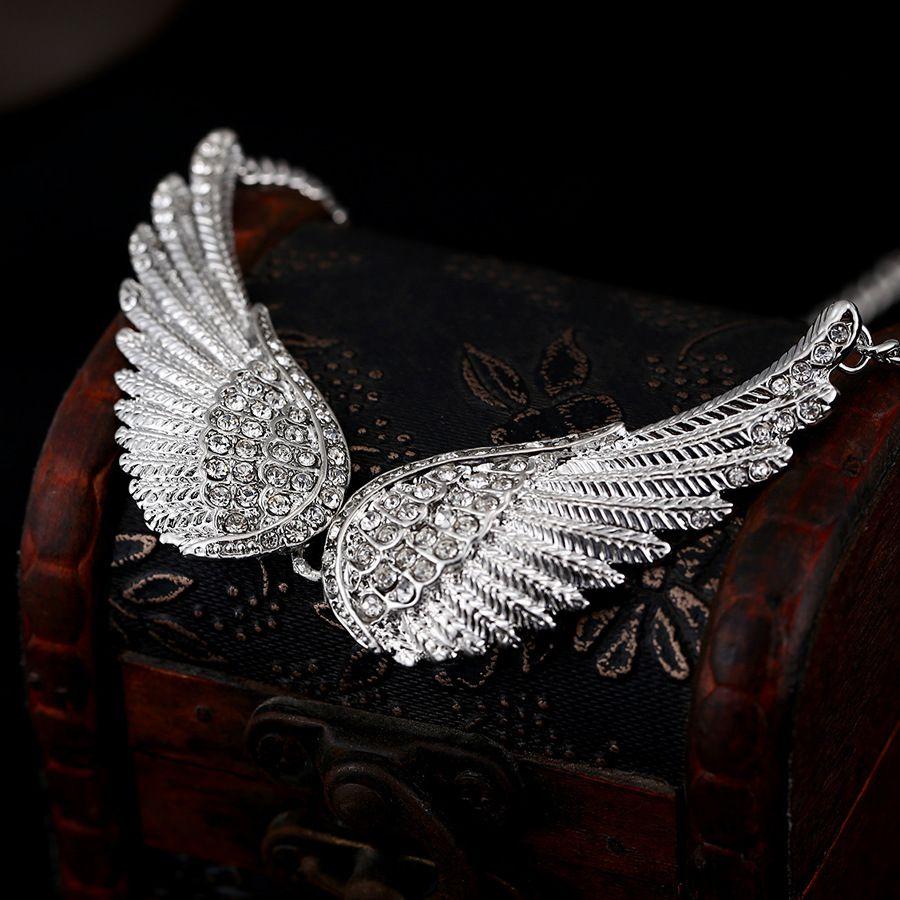 Cristal Argent Strass Unique Angel Wing Charm Pendentif Pour Bijoux Making