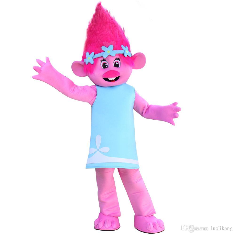 2017 New Branch Trolls Gnome Costume De Mascotte De Bande Dessinée Déguisement Adulte Livraison Gratuite
