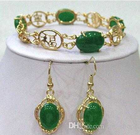 2017 Green Jade Beads Link bracelet boucles d'oreilles