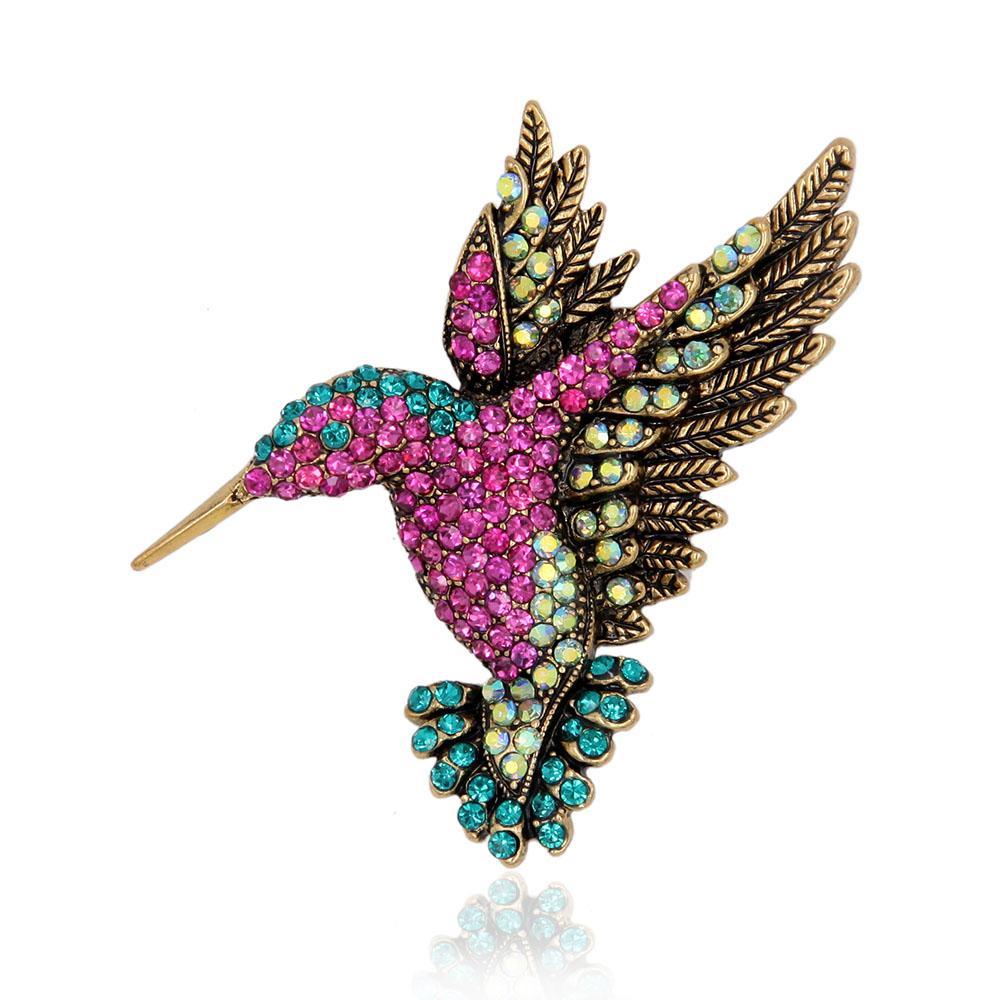 Toptan-Canlı Hummingbird Broş Pin Kristal Rhinestone Hayvan Kuş Kadın Konfeksiyon Eşarp Aksesuar Vintage Takı