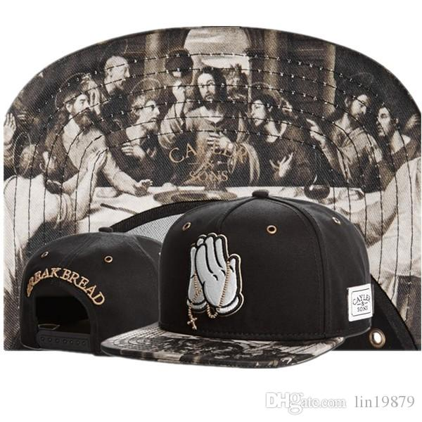 Cayler Sons BREAK BREAD 신의기도 Snapback 고전적인 남성 여성 디자이너 조절 가능한 모자 고라 뼈 수 놓은 힙합 야구 모자