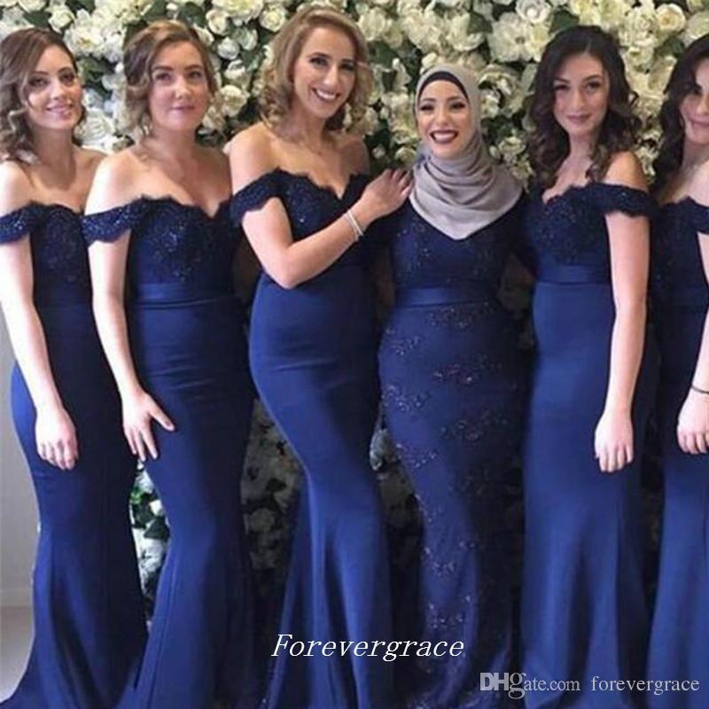 Zarif Lacivert Nedime Elbisesi Kapalı Omuzlar Dantel Aplikler Onur Hizmetçi Elbise Düğün Konuk Elbisesi Custom Made Artı Boyutu