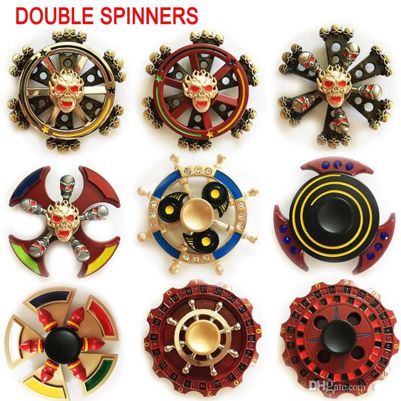 38 tipi Più nuovi Doppi cuscinetti Fidget Spinner EDC Triangle Axe Round Compass Spinner a mano spinning giocattolo Dual spin Finger toys in stagno metallico
