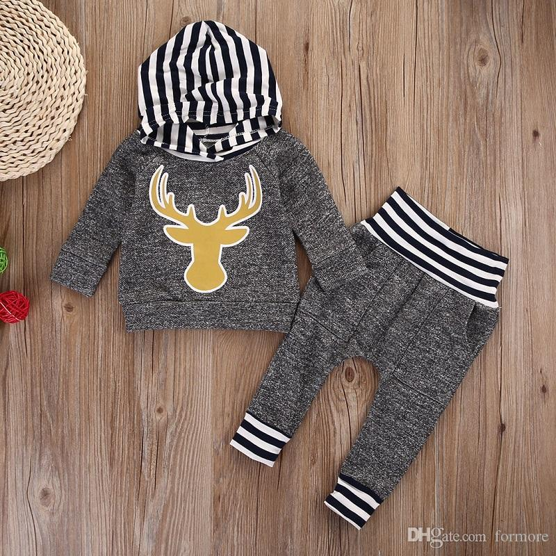 Autumn Winter Baby Boy Boutique Clothes Warm Thick Outfit Grey Kids Clothing Set Hooded Top Legging Pants Striped Reindeer Toddler Tracksuit