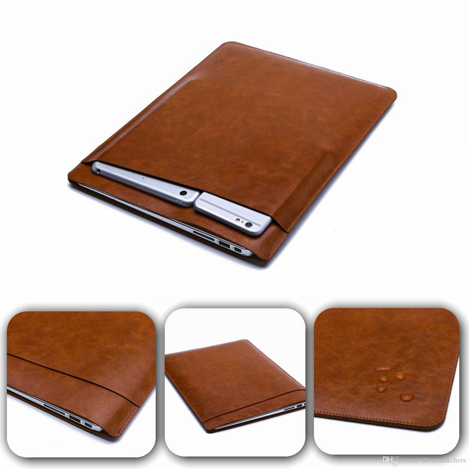 Luxury Retina Sleeve Case Double-deck Pouch Pocket Macbook Laptop Bags PU Leather Protective Cover for Apple MacBook air 11 13 12 inch