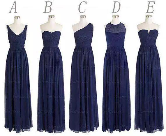 Novo 5 estilos Custom Made longo da dama de honra vestidos de uma linha de volta Zipper até o chão azul marinho Chiffon Ruched Barato Prom Evening vestido de festa
