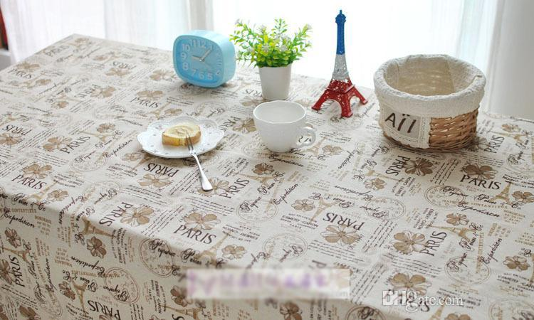 European Classical Cafe Dining Table Cloth Paris Printed Coffee Color Fabric Handmade Diy Clothing Pillow Cushion