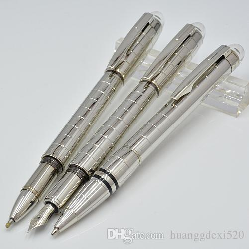 ترف Mon pen للفضة معدن قلم حبر جاف مع القرطاسية اللوازم المكتبية المدرسة ميغابايت ماركة الكتابة الرول الكرة / نافورة القلم الهدايا