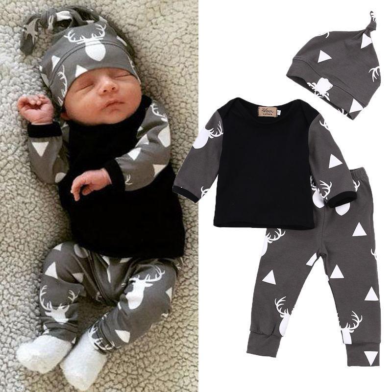 Nette neugeborene Baby-Jungen-Kleidung Deer Tops T-Shirt Long Sleeve + Hosen-beiläufige Hut-Kappe 3pcs Outfits Set Herbst