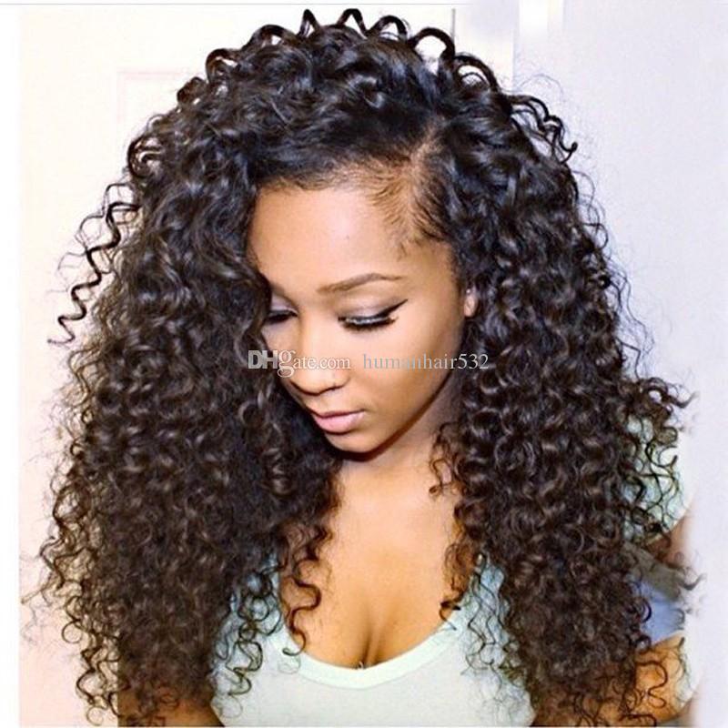 Малайзийский Virgin Hair Glueless Полный парик человеческих волос с кружевами Kinky Curl Virgin Hair Lace Front Wigs Kinky Curly для черных женщин