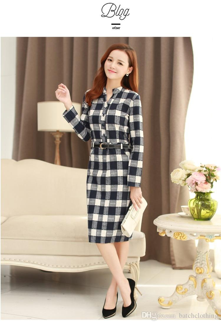 Wholesale Ladies Shirt Dress Spring And Autumn Fashion Stand ...