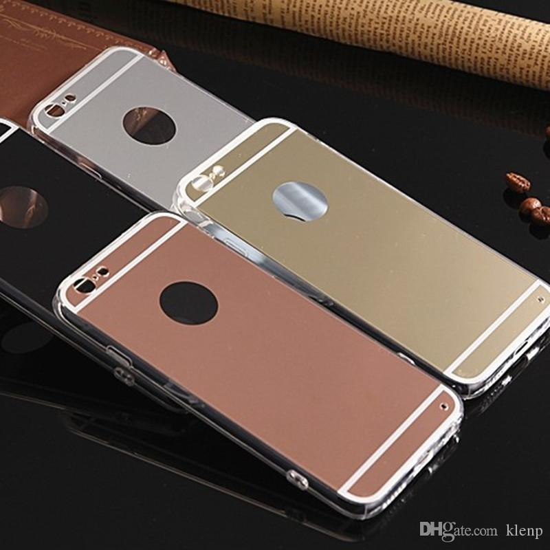 Luxury Acrylic Mirror TPU Bumper Case For iPhone 6 SE 6S 7 Plus GALAXY S6 S7 Edge Plus NOTE 5 Dustproof Protective Cover