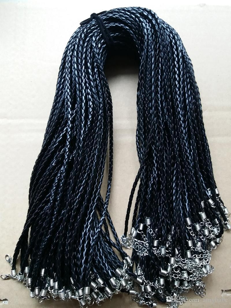 100 pièce 3mm 18 '' (45cm) Noir PU Cordon En Cuir Corde Bijoux Corde Fermoir Du Homard Cordon Pour DIY Craft Pendentif Collier Bijoux