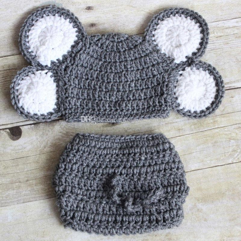 Neonato elefante grigio Costume, fatto a mano all'uncinetto baby boy ragazza animale elefante cappello e pannolino copri set, bambino neonato foto prop