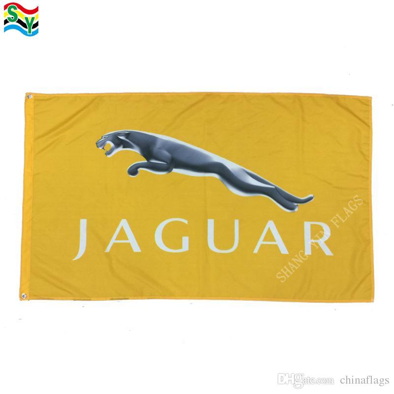 GoodFlag Бесплатная доставка желтый Ягуар флаг баннер 3X5 футов 90*150 см полиэфир открытый флаг