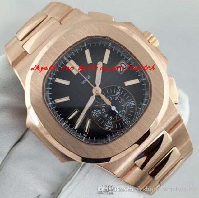 Arbeiten Sie Luxuxneue automatische N @ utilus 5980 / 1R schwarzes Zifferblatt 18kt Rose Gold MINT Herrenuhr Herrenuhren Armbanduhr um