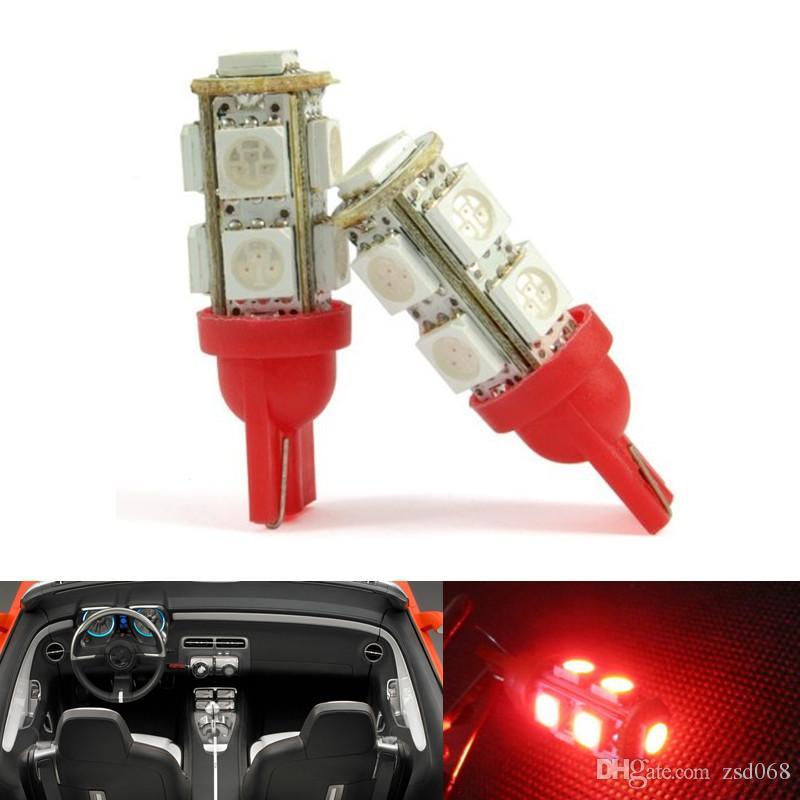 20pcs Blanc Rouge JAUNE BLEU ROSE ICE-BLUE T10 9-SMD 5050 Dôme intérieur W5W LED ampoule 921 912 906 Lumineux