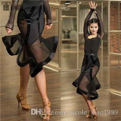 New Latin dance dress sexy women perspective Sasa Tango Rumba Samba dance gauze mosaic costume competition clothing irregular fishbone skirt