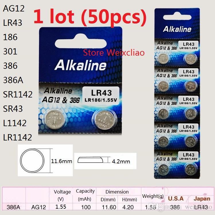 50 pcs 1 lote AG12 LR43 186 301 386 386A SR1142 SR43 L1142 LR1142 1.55 V bateria alcalina botão da moeda bateria baterias Frete Grátis