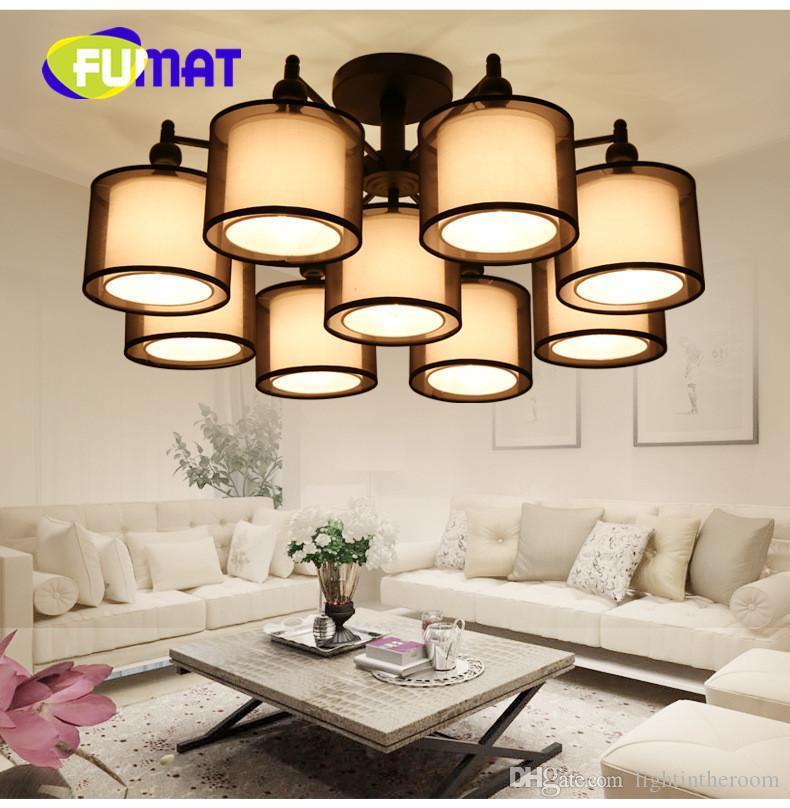 FUMAT Modernes Einfaches Tuch Schatten Kronleuchter LED Zylinder American  Decke Leuchten Für Wohnzimmer Studie Schlafzimmer Restaurant ...