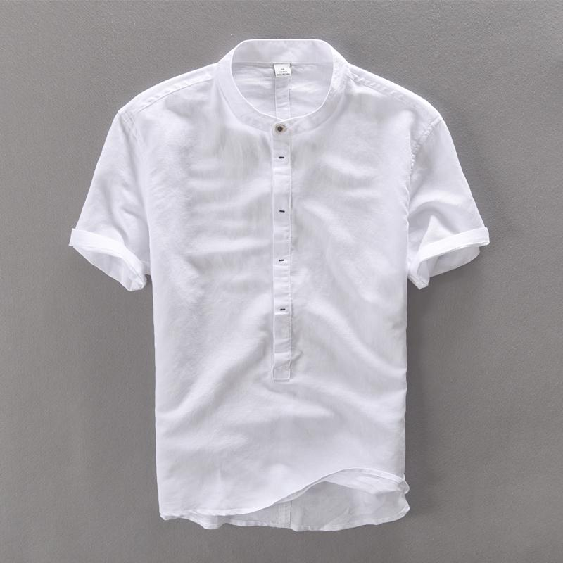 Wholesale- Men shirt short sleeve summer linen shirts men  clothing comfortable camisa masculina breathable cotton mens shirt camisas