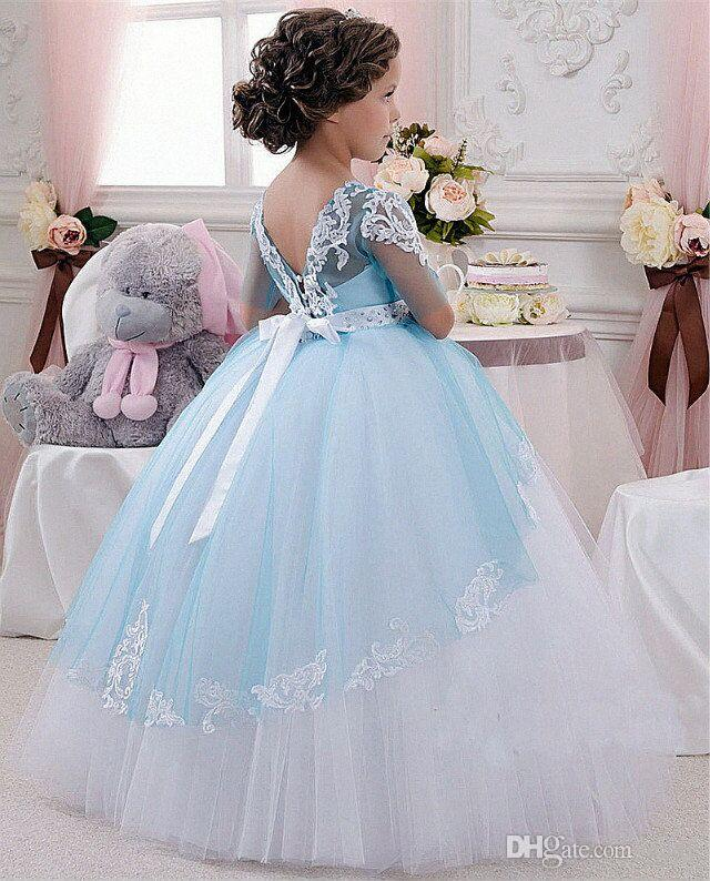 Applique Ball Gown Big Bow Lace-up Sleeveless Jewel Charming Kids Dresses New Arrival Cute Flower Gril Dresses